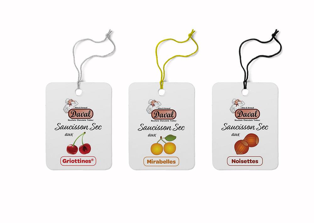 étiquettes parfums gamme saucissons